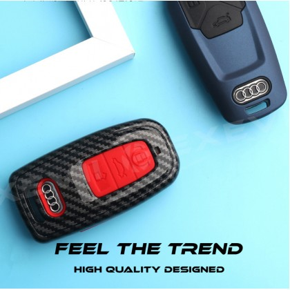 Audi Premium Silicone Men & Woman Type 2 Car Key Holder Key Pouch Key Shell Key Remote Case Key fob Key Cover Key Bag Key Chain Accessories A3 A4L A6L Q2L Q3 Q5L Q7