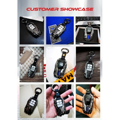 HONDA Metal Key Car Genuine Key Holder Pouch Shell Remote Series  Case fob Cover Bag Chain Accessories HONDA Benz Men & Woman 2 3 4 Buttons Popular Fashion Hot Styling 3D HRV BRV CRV JAZZ CITY CIVIC ACCORD CRZ