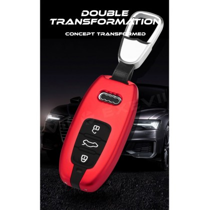 Audi INSPIRE Design Alloy Metal Car Key Holder Pouch Shell Remote Case Casing FOB Cover Bag Chain Protector Accessories