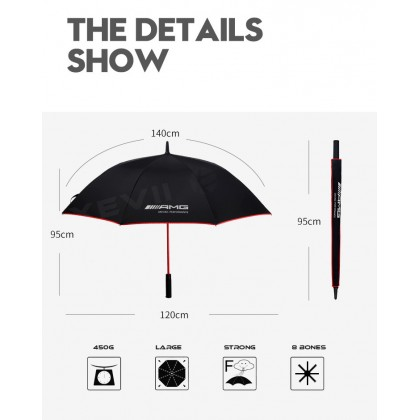 Mercedes AMG High Quality Full Fibre Advanced Big Umbrella men woman sun rain windproof windy wind resistant uv daily travel use golf