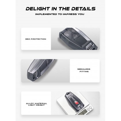 AUDI INSPIRATION TYPE A Alloy Metal Car Key Holder Pouch Shell Remote Case Casing FOB Cover Bag Chain Protector Accessories
