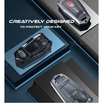 AUDI INSPIRATION TYPE B Alloy Metal Car Key Holder Pouch Shell Remote Case Casing FOB Cover Bag Chain Protector Accessories