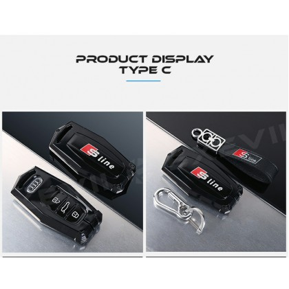 AUDI INSPIRATION TYPE C Alloy Metal Car Key Holder Pouch Shell Remote Case Casing FOB Cover Bag Chain Protector Accessories