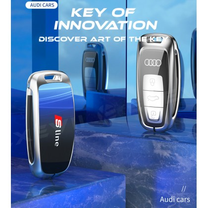 AUDI  3D Glowing Glass TYPE A Shock Proof Alloy Car Key Holder Pouch Shell Remote Case Casing FOB Cover Bag Chain Protector Accessories