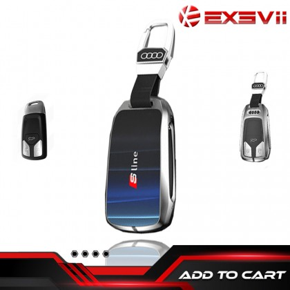 AUDI  3D Glowing Glass TYPE B Shock Proof Alloy Car Key Holder Pouch Shell Remote Case Casing FOB Cover Bag Chain Protector Accessories