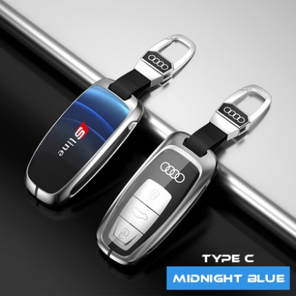 AUDI  3D Glowing Glass TYPE C Shock Proof Alloy Car Key Holder Pouch Shell Remote Case Casing FOB Cover Bag Chain Protector Accessories