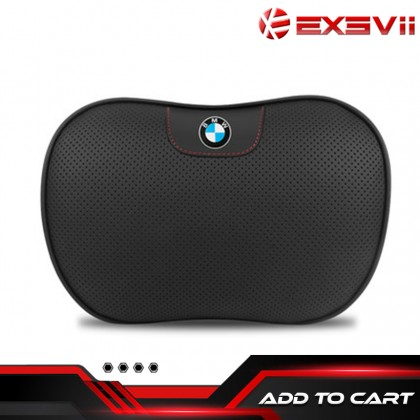 BMW Premium 3D Leather Memory Form Multi-Point Breathable HEADREST WAISTREST Car Interior Pillow Seat Pillow Support Head Neck Waist Rest Cushion Black Red lining Auto Kereta