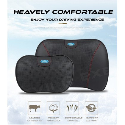FORD Premium 3D Leather Memory Form Multi-Point Breathable HEADREST WAISTREST Car Interior Pillow Seat Pillow Support Head Neck Waist Rest Cushion Black Red lining Auto Kereta