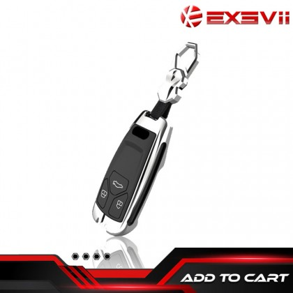 AUDI INGENUITY Alloy Metal Car Key Holder Pouch Shell Remote Case Casing FOB Cover Bag Chain Protector Accessories