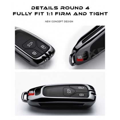 AUDI MODERN SLINE Alloy Metal Car Key Holder Pouch Shell Remote Case Casing FOB Cover Bag Chain Protector Accessories