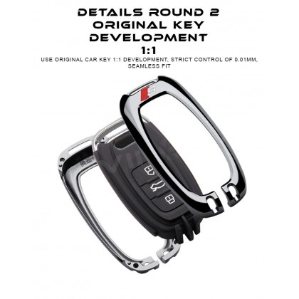 AUDI MODERN SLINE DESIGN B Alloy Metal Car Key Holder Pouch Shell Remote Case Casing FOB Cover Bag Chain Protector Accessories