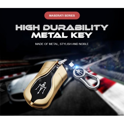 MASERATI Premium Alloy Car Key Holder Pouch Shell Remote Case Casing FOB Cover Bag Chain Protector Accessories