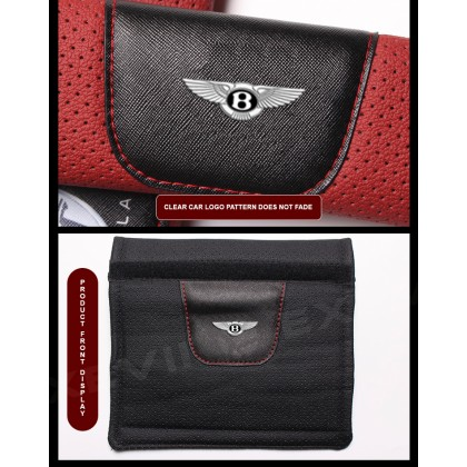 1[PAIR] BENTLEY Bentayga Mulsanne Flying Spur Continental GT Car Exclusive Genuine Leather Car Seat Belt Shoulder PadSeat Strap Belt Safety Belt Protector Vehicle Cover Universal Men Women Daily Travel Use