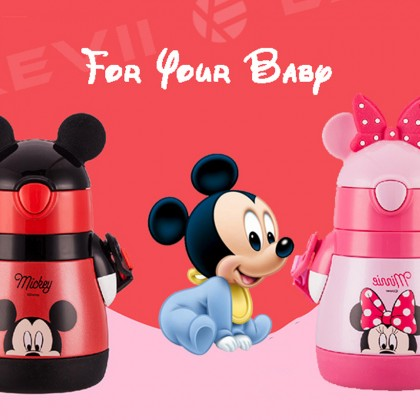 disney insulated straw safety portable tumbler drinking bottle water mickey mouse leak proof stainless steel sippy children durable feeding flask