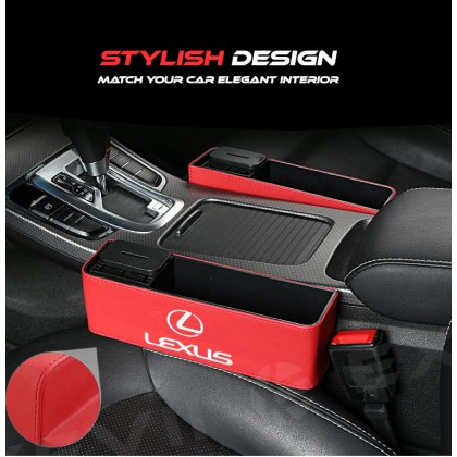 LEXUS BIG Multi-Purpose Exclusive Leather Organizer Storage Box pocket container carriers carrying Car accessories seat holder daily used Seat Chair seam Slit Gap Organizer Console Catcher Filler Side Pocket Vehicle Mounted