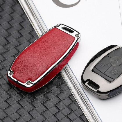 Mercedes Luxury Alloy A Design Buckle Pouch Shell Remote Case fob Cover Bag Chain Accessories Mercedes Benz Men & Woman C200 W203 W204 W205 E200 E250 W210 W211 W212 W213 3 Buttons Popular Fashion Hot Styling 3D