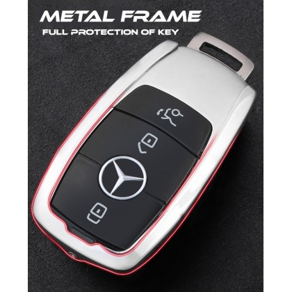 Mercedes Luxury Alcantara Key Holder Pouch Shell Remote Case fob Cover Bag Chain Accessories Mercedes Benz Men & Woman C200 W203 W204 W205 E200 E250 W210 W211 W212 W213 3 Buttons Popular Fashion Hot Styling 3D