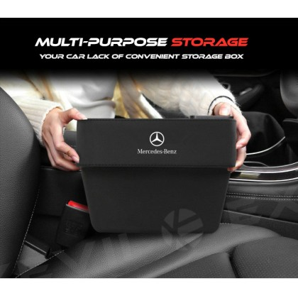 MERCEDES BIG Multi-Purpose Exclusive Leather Organizer Storage Box pocket container carriers carrying Car accessories seat holder daily used Seat Chair seam Slit Gap Organizer Console Catcher Filler Side Pocket Vehicle Mounted